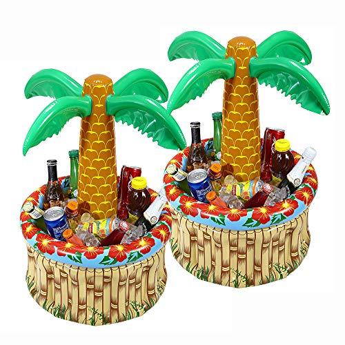 Widmann 04865 - Aublasbare Palme mit Kühler, 2 Stück, Größe 62 cm, Durchmesser 57 cm, Kühlbox, Getränkekühler, Dekoration, Beachparty, Mottoparty, Dekoration, Hawaii, Geschenk