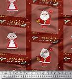 Soimoi Rot Poly Georgette Stoff Santa & Gift Weihnachten