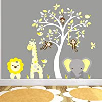Jungle Wall Stickers for Kids Bedroom. Yellow and Grey Nursery Decor with White Tree