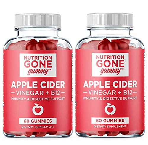 [New] Nutrition Gone Gummy Apple Cider Vinegar Gummies with The Mother (1000 mg) Natural ACV Gummies with Vitamin B12, Beetroot and Pomegranate - Supports Detox, Immunity and Digestion (Pack of 2)