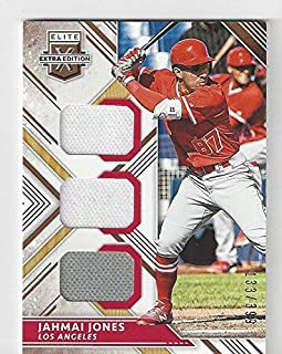 Jahmai Jones Serial Numbered #133/399 Triple Patch Memorabilia Jersey Baseball Card - 2018 Panini Extra Elite Extra Edition Baseball Card #TM-JJ (Los Angeles Angels) Free Shipping