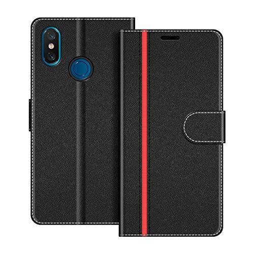 COODIO Funda Xiaomi Mi 8 con Tapa, Funda Movil Xiaomi Mi 8, Funda Libro Xiaomi Mi 8 Carcasa Magnético Funda para Xiaomi Mi 8, Negro/Rojo