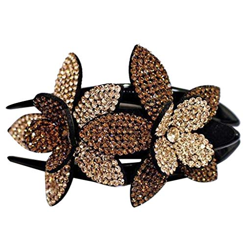 Rhinestone Double Flower Hair Clip, Women Hair Claw Crystal Hair Clip, Fit for Thick Thin All Variety hair, Sparkly Jewelry Charming Hairpin hair accessories for Girls Women (S-3.451.06inch, C)