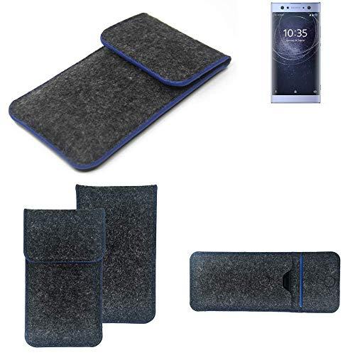 K-S-Trade Filz Schutz Hülle Für Sony Xperia XA2 Ultra Dual-SIM Schutzhülle Filztasche Pouch Tasche Hülle Sleeve Handyhülle Filzhülle Dunkelgrau, Blauer Rand