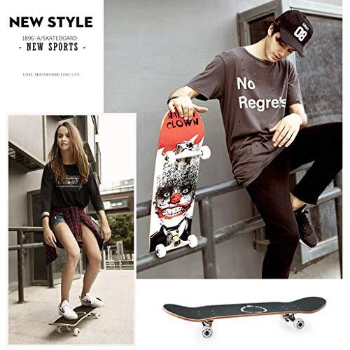 skateboard erwachsene Einfach zu navigierendes Skateboard Komplettes Double Kick Trick Dance Shortboard Skateboard Geeignet für Anfänger Männer und Frauen Gute rutschfeste Eigenschaften Glatt und la
