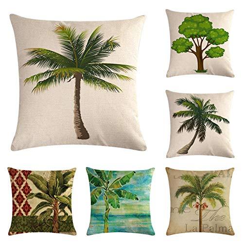 JWEK Funda de cojín 6 Juegos de Funda de Almohada de Lino para sofá Funda de cojín de árbol de Coco Funda de Almohada Hug Funda de Almohada 45 * 45 cm Decoración de Funda de cojín de sofá