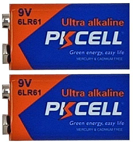 PKCELL 2 x 6LR61 9V Block Alkaline Batterie MN1604 (2 Blister a 1 Batterie) EINWEG