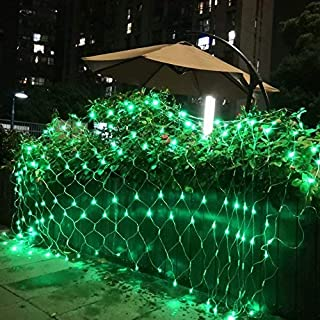 SUNYANG 10x6.5Ft 320 LED Net Lights Indoor String Lights Party Christmas Xmas Wedding Home Garden Decorations 8 Modes for Flashing(Green)