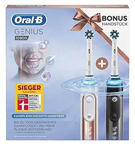 Oral-B Genius 10900 Elektrische Zahnbürste mit Zahnfleischschutz-Assistent, mit 2. Handstück und Reise-Etui, roségold und schwarz
