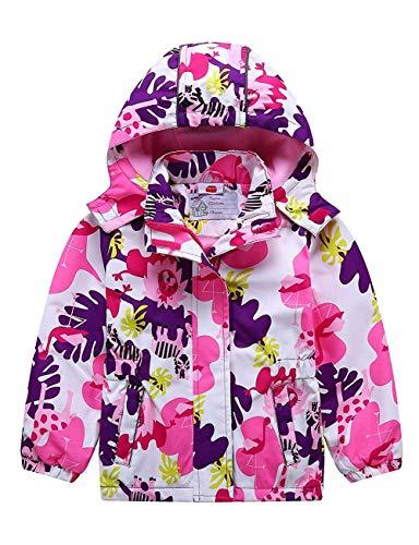 G-Kids Mädchen Wasserdicht Jacke Übergangsjacke Regenjacke mit Fleecefütterung Warm Winddicht Atmungsaktiv Wanderjacke Outdoorjacke Rosa 110/116