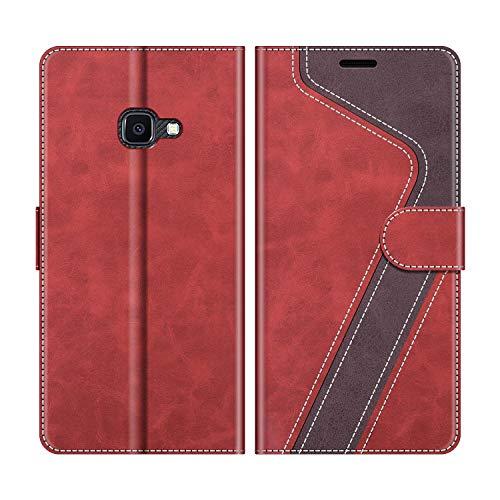 MOBESV Handyhülle für Samsung Galaxy Xcover 4S Hülle Leder, Samsung Galaxy Xcover 4S Klapphülle Handytasche Hülle für Samsung Galaxy Xcover 4S Handy Hüllen, Modisch Rot