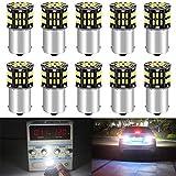 DEFVNSY - Paquete de 10-6500K Blanco 1156 BA15S 1141 1003 1073 7506 Bombillas LED 3014 54-SMD Lámparas para 12V Interior RV Camper Remolque Iluminación Barco Yard Luz Bombillas de Respaldo