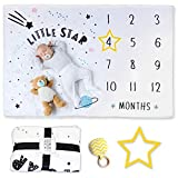 Keshet and Anan Baby Monthly Milestone Blanket Gift For Unisex Newborn Baby Shower 100% Soft Large and Thick Fleece Yellow Star Frame for Boy or Girl Pregnant women Growth Print Photography Background