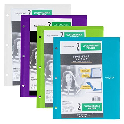 Five Star Plastic Folders, Customizable, Assorted Colors, Trend, 4 Pack (38091)