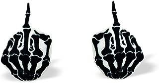 Skeleton Middle Finger F*ck You Symbol - F You Earrings - Middle Finger Stud Earrings - Skeleton F You Finger Earrings - Surgical Steel Earrings