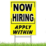 Now Hiring Sign - 16 inch x 12 inch Yard Sign...