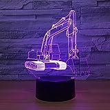 lampara 3D Pared 7 Cambios de Color La Excavadora es Adecuada para Deportes Lámpara de Mesa Lámpara de Dormitorio Lámpara de Color Regalo de cumpleaños