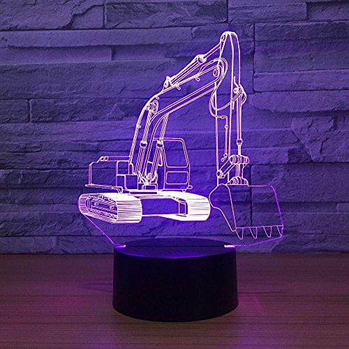 LPHMMD nachtlampje met schep, 7 kleuren, 3D-lamp, led-nachtlampje, voor kinderen, met USB-aanraking, nachtlampje, bewegingslicht