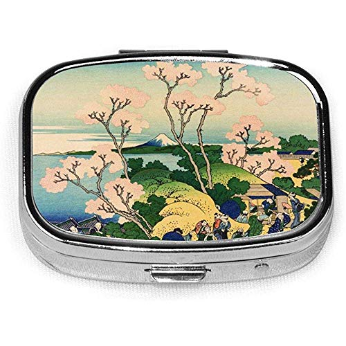 Hokusai Japan Ink Cherry Blossom Mount Fuji CustomSilver Square Pill Box Medicine Tablet Houder Portemonnee Organizer Case