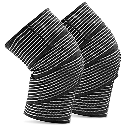 Professional Knee Wraps Knee Brace,Knee Compression Sleeve,Extra Long Elastic Knee Wraps for Men & Women,Knee Support Knee Pads for Weightlifting, Powerlifting, Fitness, WODs & Gym Workout