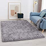 Cocowe Super Plush Area Rug for Bedroom Fluffy, Shag Area Rug for Living Room, Soft Cute Kids Carpet Shaggy Long Fur Fuzzy Nursery Boys Girls Indoor Couch Sofa Luxury Accent Home Decor Mat 3x5 Grey