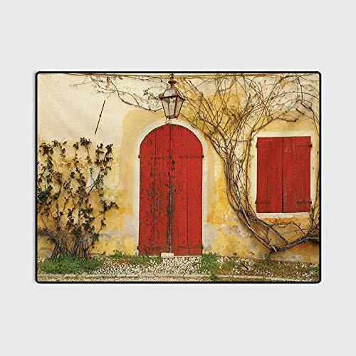 Shutters Bathroom Rug Rugs for Living Room Doorway with Blinded Door and Window to The Rural Tuscan House Italy Europe Birthday Gifts for mom Beige Yellow Red 4 x 6 Ft