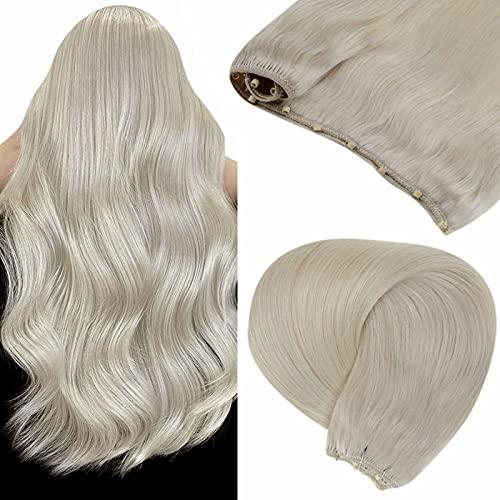 LaaVoo Beadedin Weft Hair Extensions Real Human Hair Ice Blonde MicroBeadedin Weft Blonde Extensions Seamless...