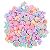 Onwon 100 Pieces 3D Candy Color Resin Flower Bow Fruit Animal Flatback Button for DIY Hair...