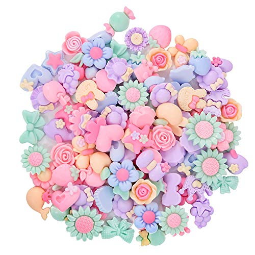 Onwon 100 Pieces 3D Candy Color Resin Flower Bow Fruit Animal Flatback Button for DIY Hair Clip Headband Scrapbooking Embelishments