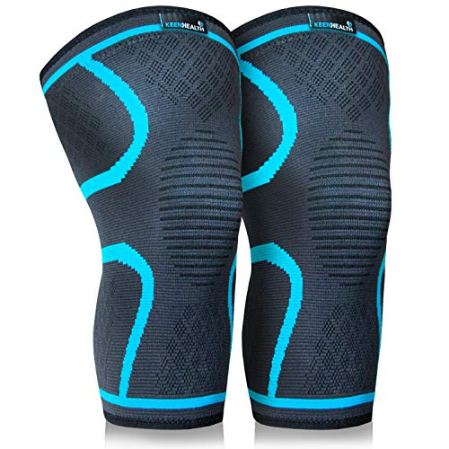Keenhealth Compression Knee Brace (2Pack) - Knee Sleeve Pain Relief - for Arthritis, ACL and MCL - Support for Gym, Running, Working Out and Sports - for Men and Women (Blue, M)