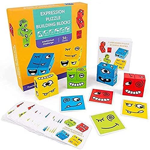Carta gioco Cube Magic Cube in legno Face Face Emoji Pattern Building Blocks Giocattoli Bambini Montessori Toddler Puzzle Impilabile Puzzle in legno Puzzle 12 camere (50 carte)