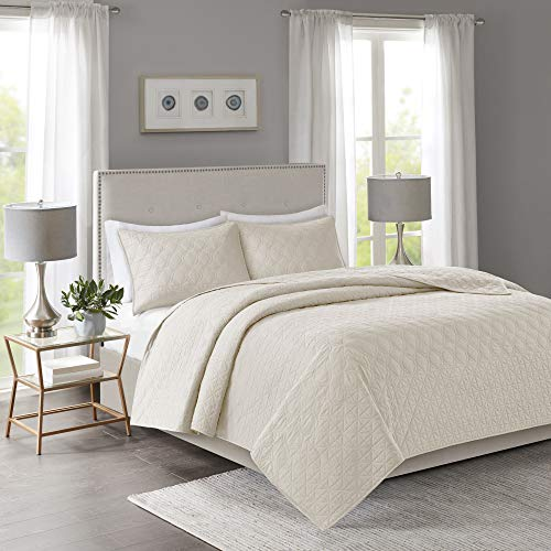 "Madison Park Linnette 3 Piece Reversible Quilt Set Coverlet Bedding, King/Cal King(104""x94""), Ogee Geo Cream"