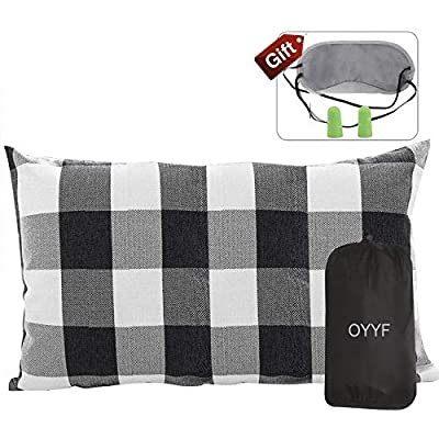 OYYF Small Camping Pillow for Sleeping, Compressible Lightweight Camp Pillow, Removable Cover with Storage Bag, Black Plaid