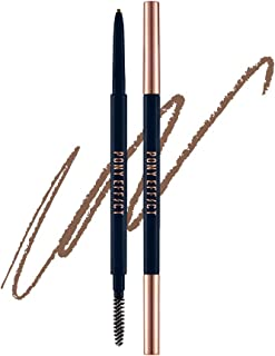 PONY EFFECT Sharping Brow Definer   Natural Brown   Ultra Slim Eyebrow Pencil with 1.5mm Tip & Blending Spoolie   Korean Beauty