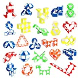 Ganowo 24 Pack Fidget Snake Cube, Mini Twist Puzzle Party Bag Fillers Bulk Toys for Kids Teens Birthday Stocking Stuffers Party Favors Supplies Goodie Bags Fillers, Random Colors