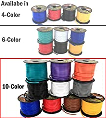 16GA |10 Rolls | 100'/Roll | Color: Black, Red, Blue, Yellow, White, Green, Brown, Orange, Grey, Purple Stranded Copper Clad Aluminum | Insulated in PVC | Rated to 105 C, 6 to 80 volt For 12V Automotive Harness, Home Theater, low voltage LED Light Wi...