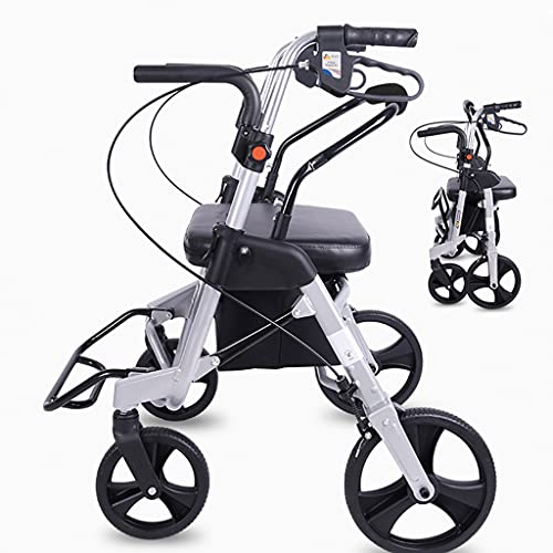 Andador De 4 Ruedas,Plegable Movilidad Ayuda A Caminar,Mejor Andador para Ancianos,Andador con Asiento,Andador De Aluminio, Utilizado por Ancianos Y Adultos.