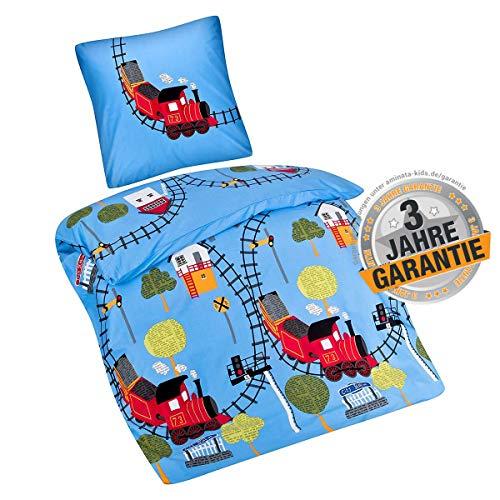 Aminata Kids süße Bettwäsche-Set Eisenbahn-Motiv 135 x 200 cm + 80 x 80 cm Jungen, blau aus Baumwolle mit Reißverschluss, unsere Kinder-Bettwäsche mit Zug-Motiv ist weich und kuschelig