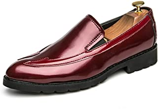 Men's Business Oxford Perfunctory Leather Stitching Comfy Wear Outsole Formal Shoes casual shoes (Color : Red, Size : 38 EU)