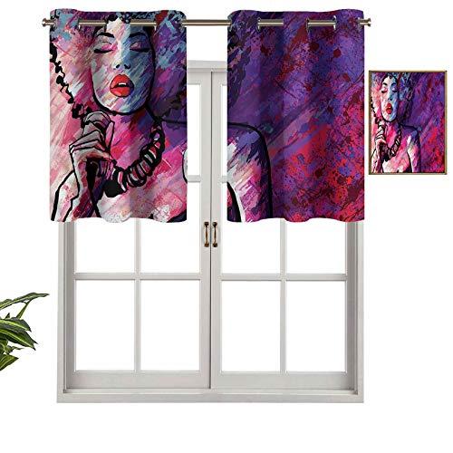 Panel de cortina de bloqueo UV Afro Hair Sexy Jazz Singer, juego de 2, 42 x 24 pulgadas para habitación de niños