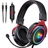 ONIKUMA Gaming Headset PS5 Headset Xbox One Headset, Noise Canceling Gaming Headphones with RGB Light,7.1 Surround Sound Crystal Clear Mic for PS5, PS4, Xbox One, PC, Mac (Red)