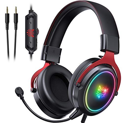 ONIKUMA Gaming Headset PS5 Headset Xbox One Headset, Noise Canceling Gaming Headphones with RGB Light,7.1 Surround Sound Crystal Clear Mic for PS5, PS4, Mac, PC (Red)