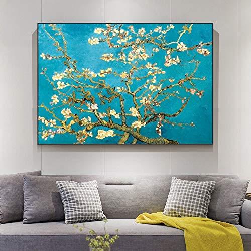 wZUN Flores de Almendro de Van Gogh en la Pared Lienzo Arte Pintura Carteles e Impresiones Impresionista Sala de Estar Lienzo 60x80 Sin Marco