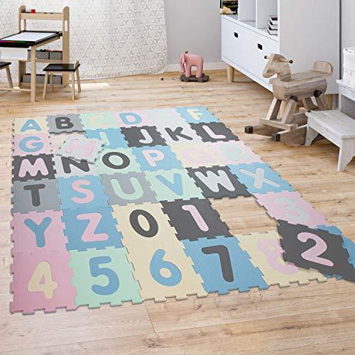 Paco Home Tapis Puzzle Jeux Tapis Mousse Bébé Enfants Chiffres Lettres Pastel 36Pièces, Dimension:32x32 cm x 36 piècs, Couleur:Multicolore