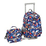 Rolling Backpack 18 inch Double Handle with Lunch Bag Wheeled Kids Backpack, Shark