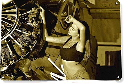 AWMAXG Home Decor - Placa de Metal con Texto en inglés Pin-Up Girl Aviation Radial Engine, 20 cm x 30 cm