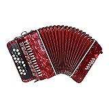 M-zutx 12 bajos Acordeones de botón de 25 botones Niño Adulto Principiante Tocando el instrumento de acordeón Acordeón portátil for niños con mochila con correa ajustable (Color : Rojo)