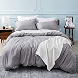 Bedsure Duvet Cover Queen Zipper Closure (90x90 Inch) Ultra Soft Brushed Microfiber Grey Duvet Cover Full 3-Piece Set Bedding Comforter Cover with Corner Ties and 2 Pillow Shams Easy Care