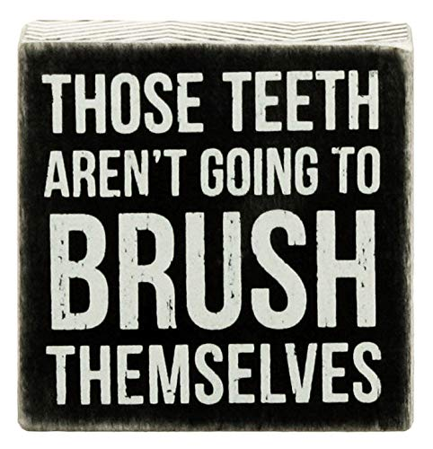 Primitives By Kathy 'Those Teeth Aren't Going to Brush Themselves' 4' By 4' Box Sign