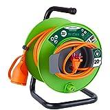 Electraline 49234 Verlängerungskabel für den Garten, Stecker und Buchse für europäische Stromnetze, 2-polig, für elektrische Gartengeräte, Länge 20m, mit Abdeckung für die Buchse, Kabelquerschnitt 2 x 1,5mm²
